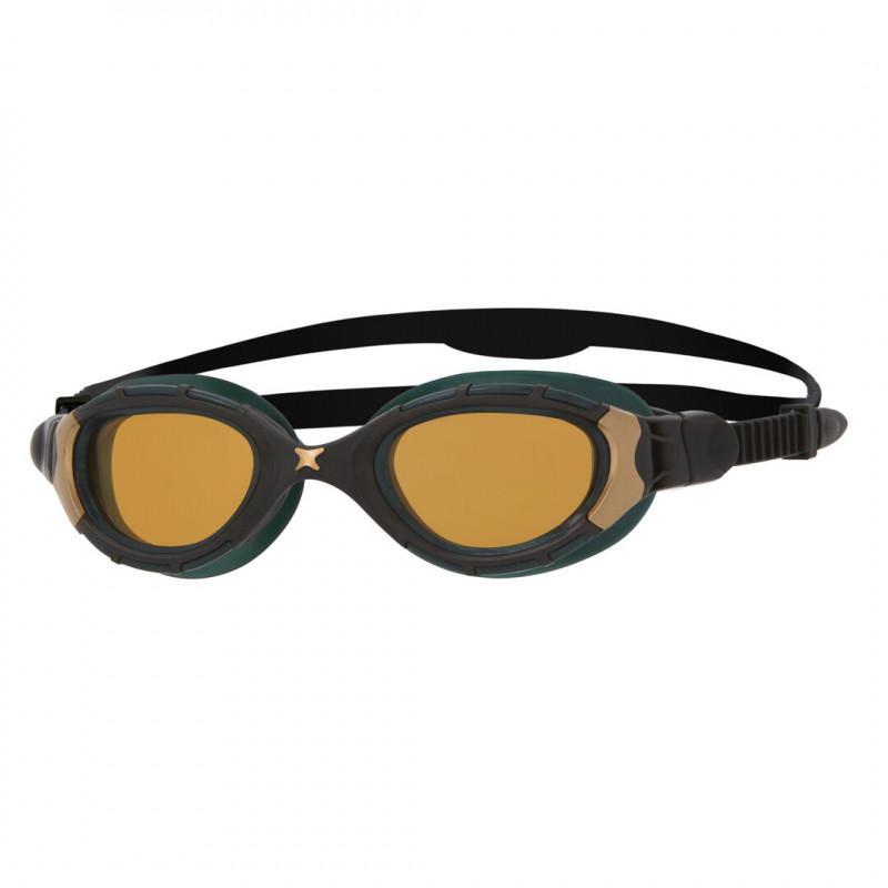 Zoggs Predator Flex Polarized ULTRA REACTOR Black Metallic Gold Copper - Regular Fit - Lunettes triathlon et natation